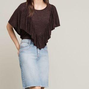 Doland Left Coat Collection ruffle overlay blouse